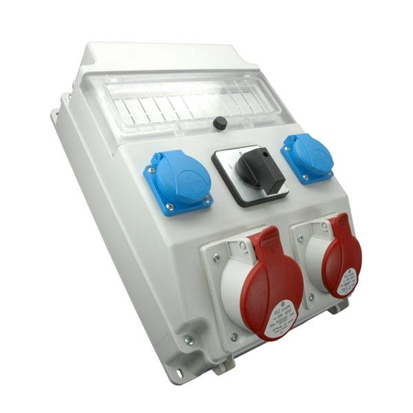 Rozdzielnica 1x32A/5P, 1x16A/5P, 2x250V, okienko, wyłącznik L-0-P