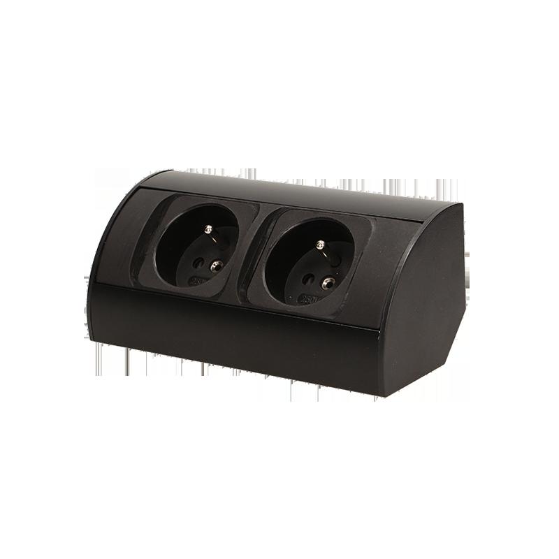 Gniazdo meblowe bez wyłącznika 2x2P+Z, czarne