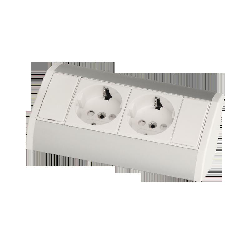 Gniazdo meblowe 2x2P+Z, biało-srebrne, wersja schuko