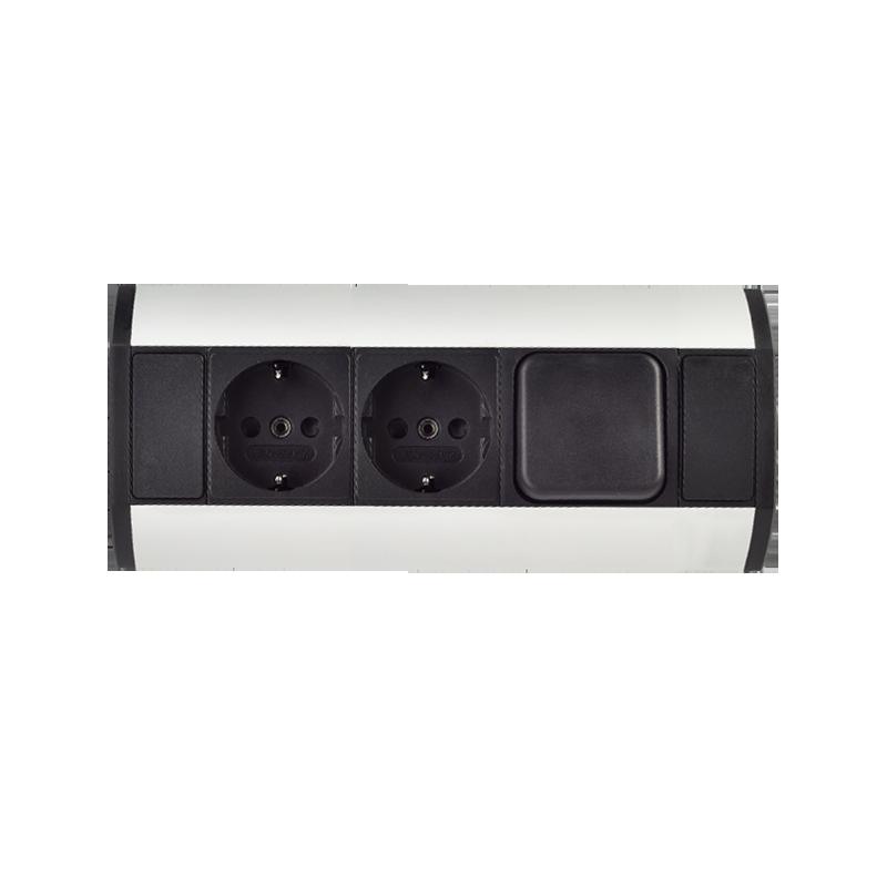 Gniazdo meblowe z wyłącznikiem 2x2P+Z, wersja schuko
