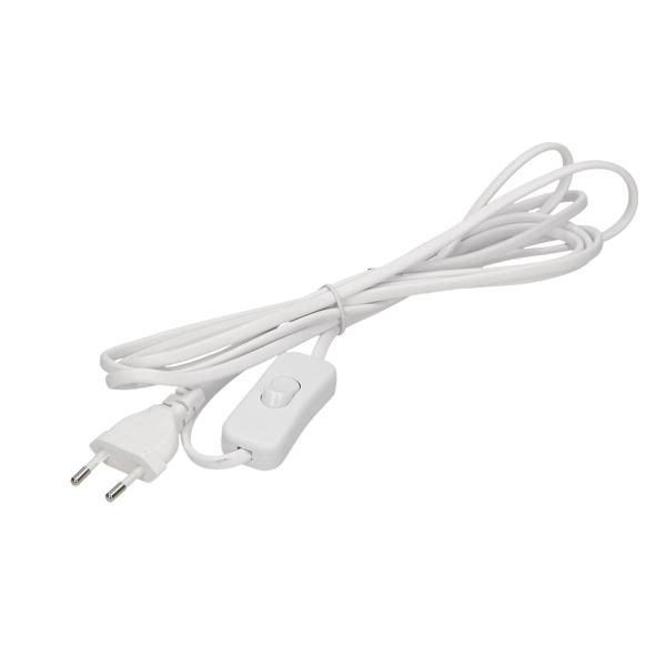 Przewód zasilający z wyłącznikiem i wtyczką płaską, przewód 3m, biały