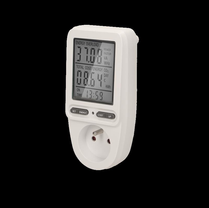 Watomierz, kalkulator energii z wyświetlaczem, wersja schuko